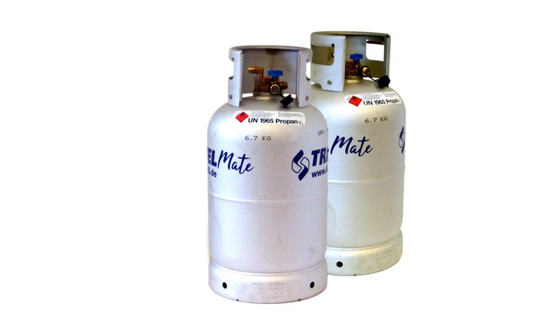 ALUGAS Travel Mate cilindro de gas recargable con certificado de inspección técnica (TÜV) hasta el 2030